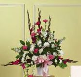 GLADIOLAS IN WHITE BASKET in Edison, NJ | E&E FLOWERS AND GIFTS