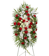 GRACEFUL RED & WHITE Standing Spray of Funeral Flowers in Burton, MI | BENTLEY FLORIST INC.