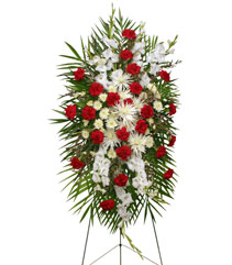 GRACEFUL RED & WHITE Standing Spray of Funeral Flowers in Pembroke, MA | CANDY JAR AND DESIGNS IN BLOOM