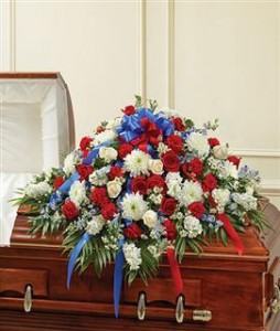 Half Casket Cover Red, White, and Blue Funeral in Crestview, FL | The Flower Basket Florist