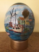 Hand Painted Ostrich Egg Nautical Boat Scene