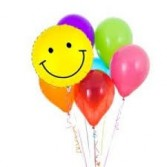 Happy Face Balloon Bouquet Mylar and latex balloon bqt