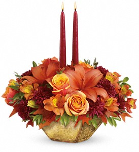 Harvest Gold Centerpiece T12T100  in Wichita Falls, TX | House of Flowers & Gifts