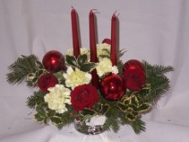 Holly Happy Burgandy Christmas Flowers Centerpieces