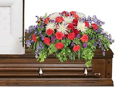 HONORABLE DEDICATION Casket Spray in Catonsville, MD | BLUE IRIS FLOWERS