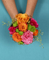 HOT PINK & ORANGE Handheld Bouquet in Meadow Lake, SK | FLOWER ELEGANCE