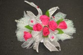 Hot Pink Spray Roses Silver Accents