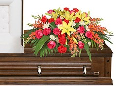 IN LOVING MEMORY Casket Spray in Raymore, MO | COUNTRY VIEW FLORIST LLC
