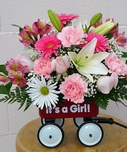 It's A Girl Wagon In Pink Baby Arrangement