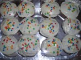 Dozen cupcakes   yellow cake  with vanilla  buttercream icing AND SPRINKLES! Order before 5:00p.m. fpr next day's delivery.