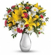 Just Tickled Bouquet Silver Reflection Vase