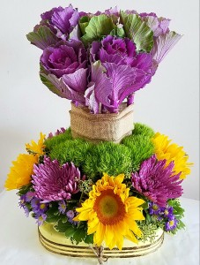 Kale and sunflower High style arrangement in Orlando, FL | ARTISTIC EAST ORLANDO FLORIST