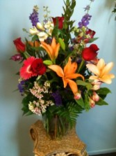Large Mixed Flowers in a Vase Long Lasting Sympathy Gift