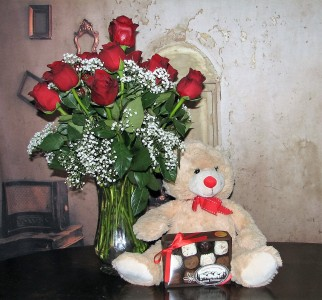 Love Me Tender 1Dz Red Roses Medium Light Brown Bear + Medium Box of Chocolates