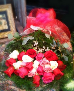 Presentation Bouquet 24 Pink, Red And White Roses Wrapped in Fair Lawn, NJ | DIETCH'S FLORIST