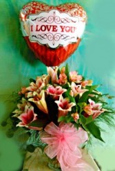 Love You Stargazer Lilies Includes Balloon