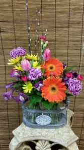 Lovely Widflowers Double Basket of Glass Vases