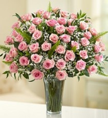 Elegance in Pink Premium Pink Roses with Deluxe Foliage