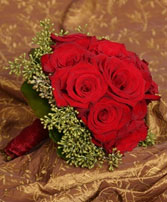 LUSH RED ROSES Wedding Bridal Bouquet in Burton, MI | BENTLEY FLORIST INC.