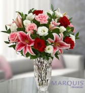 Marquis Waterford Blushing Rose and Lily Bouquet Fresh Arrangement