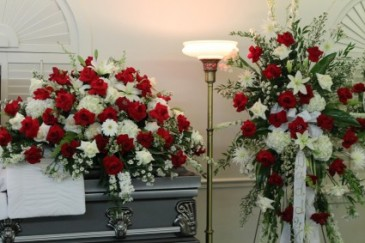 MATCH CASKET COVER AND STANDING SPRAY SYMPATHY  ARRANGEMENT