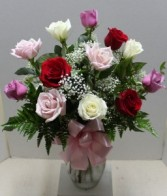 Pink white and red Rose Arrangement