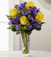 NB 12-Mixed flower arrangement in a tall vase (flowers and colors may vary)