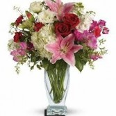 OC 3-Mixed flower arrangement in a tall vase Flowers and colors may vary