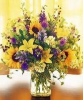 JB 15-Mixed flowers in a tall vase (Flowers and colors may vary)