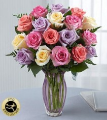 Mixed Roses in mouve vase