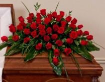 1/2 COUCH OF ALL RED ROSES WITH  GREENS