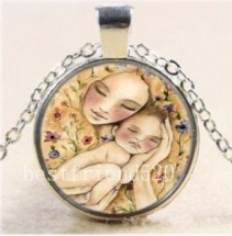 Mom and Baby #36 18 inch silver plated necklace