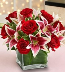 Much Love Cube of Roses and Lilies
