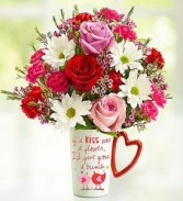 Mug of Love Fresh mix With Daisys Roses & Mini Carns