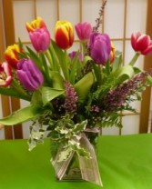 Multicolor Tulips  cut flowers in a vase