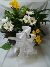 Large planter with a mixture of green plants and  cut flowers added with a bow. Nice keepsake