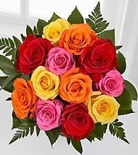 Assorted Colors Plain (Pick Up Only)  One Dozen Long Stem Mixed Roses 50& 60 Cm  While Supplies Last((NO Hold On This Special))First Come First Serve ((PICK UP ONLY))