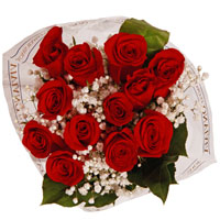Wrapped Bouquet Red  Pick Up Only One Dozen Long Stem Roses 50&60 cm  ((PICK UP ONLY))