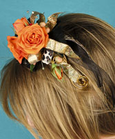 ORANGE ROSES Prom Hairpiece in New Brunswick, NJ | RUTGERS NEW BRUNSWICK FLORIST