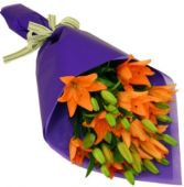 ORANGE TIGER LILIES GIFT WRAP BOUQUET in Rockville, MD | ROCKVILLE FLORIST & GIFT BASKETS