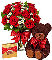 Over the Top !! Roses, Chocolate , and Bear in Margate, FL | THE FLOWER SHOP OF MARGATE