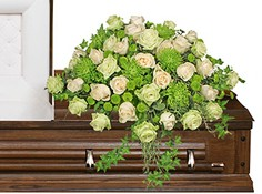 OVERFLOWING AFFECTION Casket Spray in Pearland, TX | A SYMPHONY OF FLOWERS