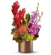 H 4-Exotic Floral Arrangement  Flowers and colors may vary