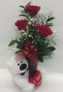 Past, Present and Future with Bear Rose Arrangement