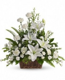 Peaceful White Lilies Basket One-Sided in a square basket