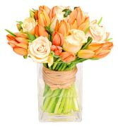 PEACH ROSES & ORANGE TULIPS ARRANGEMENT in Rockville, MD | ROCKVILLE FLORIST & GIFT BASKETS