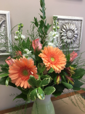 Peaches 'n Cream vased arrangement