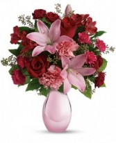 Perl Vase with Roses Bouquet