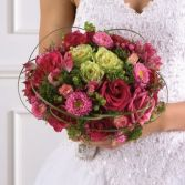 HOT PINK & LIME GREEN WEDDING BOUQUET/PINK ROSE, ASTER MATSUMOTO, LIME ROSES, & HYPERICUM WITH GREENERY