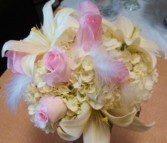 Pink and White Bridal Bouquet Hand-tied Bridal Bouquet